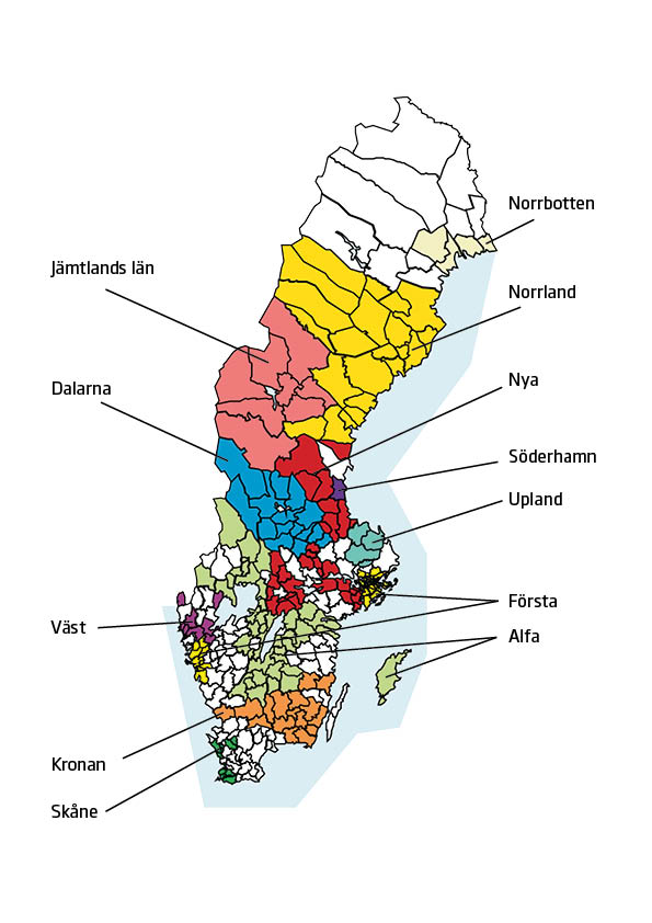 Karta som visar stiftelsernas områden